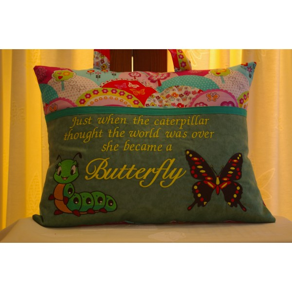 """Reading Cushion """"Caterpillar and the Butterfly"""""""